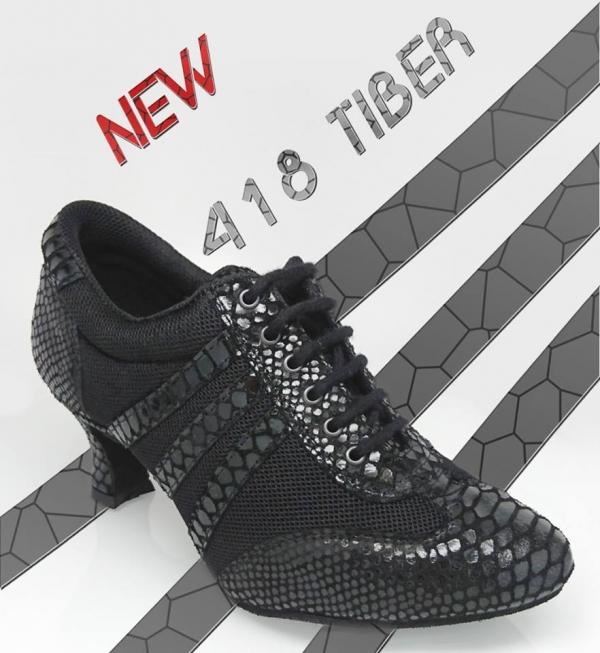 Ray Rose 418 Tiber | Black Croc Leather/Black Mesh