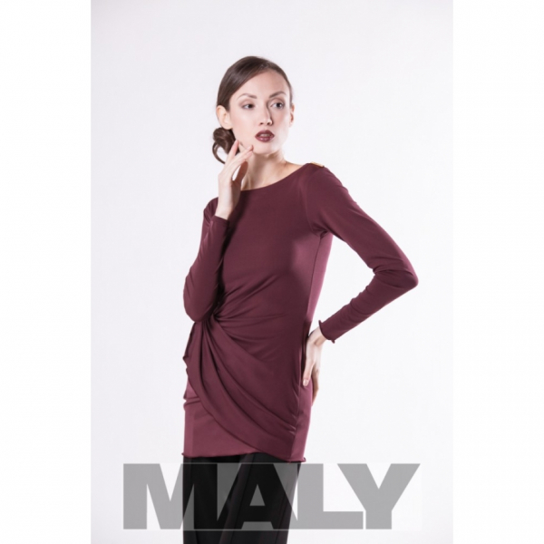 Maly model MF171104-7900 shirt with knot decoration and arm bordeaux