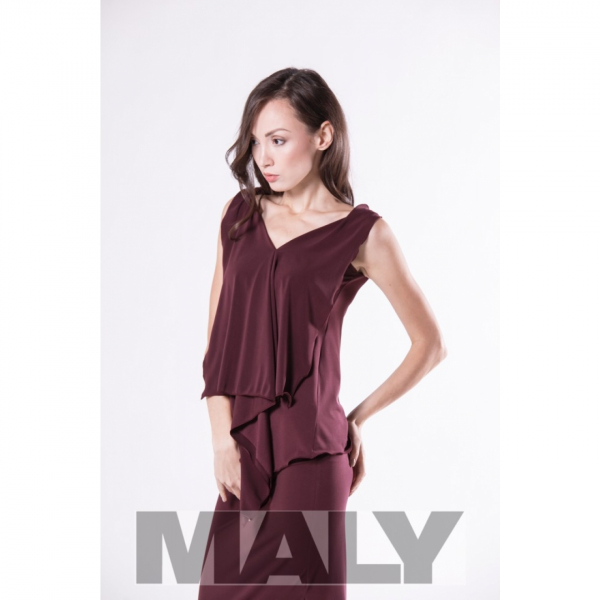 Maly Store MF161105 5900 Ladies shirt with back scarf bordeaux