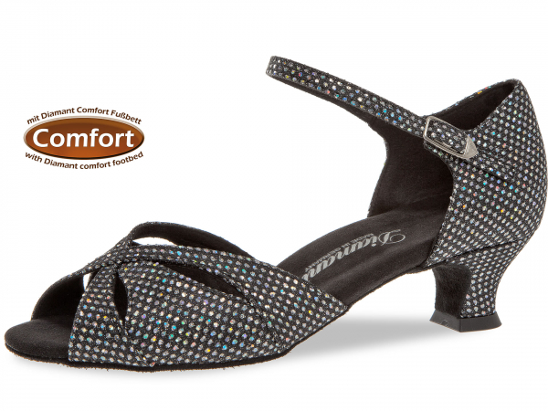 Diamant 144 011 183 Mod. 144 ladies dance shoes width F regular width with comfort foot bed Spanish heel 4,2 cm black-silver hologram