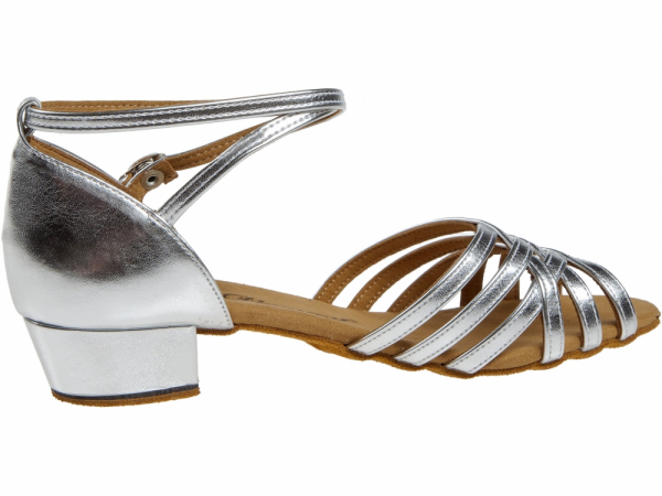 Diamant 008 035 013 Mod. 008 ladies dance shoes width F round form regular width bed bloc heel 2,8 cm silver synth.