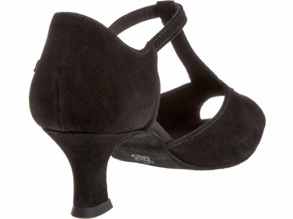 Diamant 010 064 101 Mod. 010 ladies dance shoes width F regular width Latino heel 5 cm black suede t-bar with rhinestones