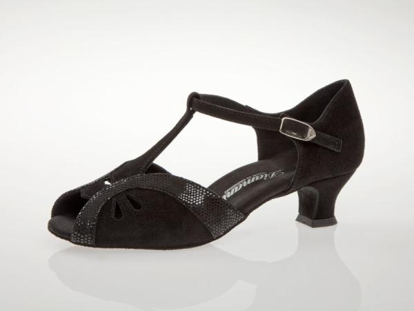 Diamant 019 011 208 Mod. 019 ladies dance shoes width F regular width with comfort foot bed Spanish heel 4,2 cm black suede black python print