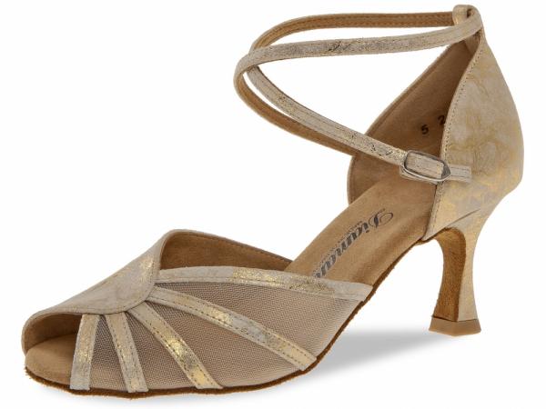Diamant 020 087 017 Mod. 020 ladies dance shoes width F regular width Flare heel 6,5 cm gold magic leather