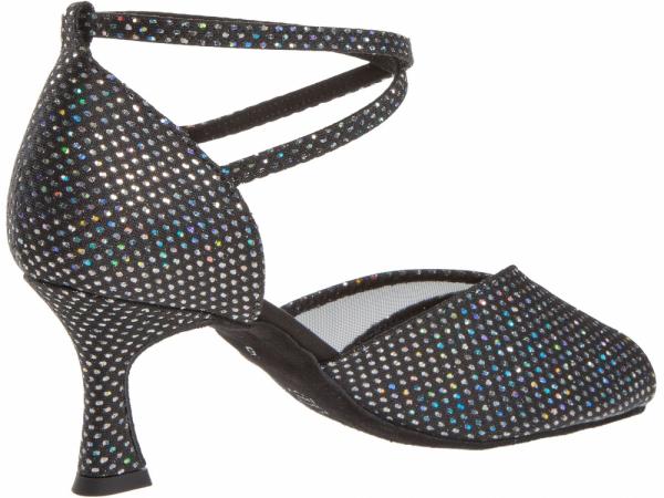 Diamant 020 087 183 Mod. 020 ladies dance shoes width F regular width Flare heel 6,5 cm black-silver hologram