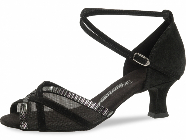 Diamant 035 064 139 Mod. 035 ladies dance shoes width F regular width Latino heel 5 cm black suede black-silver puntino leather