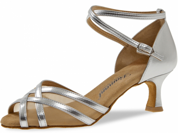Diamant 035 077 013 Mod. 035 ladies dance shoes width F regular width Flare heel 5 cm silver synth.