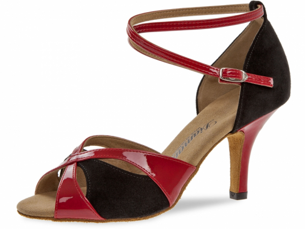 Diamant 141 058 400 Mod. 141 ladies dance shoes width F regular width Slim heel 7,5 cm red patent synth. black suede
