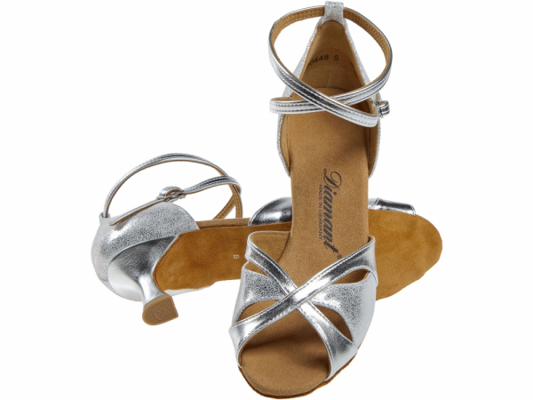 Diamant 141 077 463 Mod. 141 ladies dance shoes width F regular width Flare heel 5 cm silver synth. silver antique suede