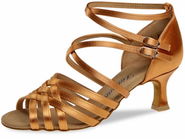 Diamant 108 077 379 Mod. 108 with 2 heel straps ladies dance shoes width F regular width Flare heel 5 cm dark tan satin