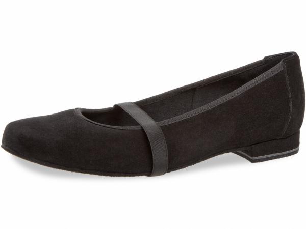 Diamant 175 005 001 Mod. 175 ladies ballerina dance shoes width F round form regular width bloc heel 1,2 cm black leather
