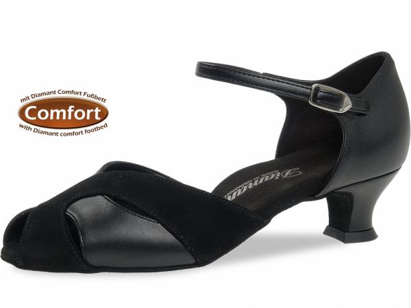 Diamant 011 011 070 Mod. 011 ladies dance shoes width F regular width with comfort foot bed Spanish heel 4,2 cm black leather black suede